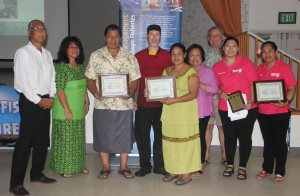 Certificates and plaques of recognition were awarded to 40 seafood vendors who are helping local and federal fishery managers better understand American Samoa's commercial fishery. Pictured (from left) are Council Chair Ed Ebisui Jr., American Samoa DMWR Director Ruth Matagi-Tofiga, Aukuso Gabriel of Josie's Restaurant, Charles Nelson of Equator Restaurant, Hana of P n F Mart, Council Executive Director Kitty Simonds, Tom Drabble of Sadie's Hotels, and Michelle Shaosxia Ma and Tua Agalelei of Sunny's Restaurant.