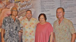 From left: Edwin Ebisui Jr., chair of the Western Pacific Regional Fishery Management Council; The Honorable Eddie Calvo, Governor of Guam; Kitty M. Simonds, Council executive director; and Matt Sablan, director, Guam Department of Agriculture.