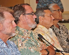 From left: Council Vice Chairs McGrew Rice and John Gourley, Gov. Eddie Calvo of Guam, Council Chair Edwin Ebisui Jr.