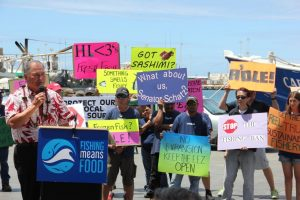 Hawaii fishermen, businessmen and chefs rallied on July 15 to publicize their concerns about the impact of the proposed expansion on their livelihood and availability of fresh local fish.