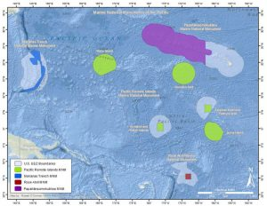 The expanded Papahanaumokuakea Marine National Monument prohibits commercial fishing in about 61 percent of the US EEZ around Hawai'i. Marine national monuments now comprise 1.06 million square miles of US EEZ waters in the US Pacific Islands.