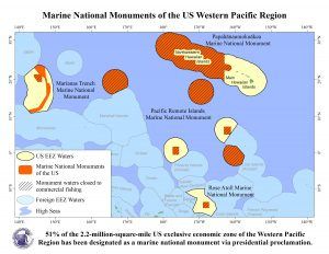 The expanded Papahanaumokuakea Marine National Monument prohibits commercial fishing in about 61 percent of the US EEZ around Hawai'i. Marine national monuments now comprise 51 percent of US waters around the US Pacific Islands.